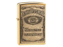 Zippo Jack Daniels High Polish Brass med gravering