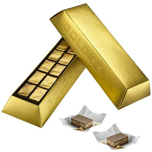Nougatfylld choklad i guldtacka