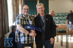 Chairman Jeremy Goacher (left) thanks the outgoing Secretary John Record for his long and loyal service to the LCA