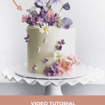 Gumpaste Lilacs Arranged on Cake