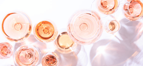 Different types of rosé wine
