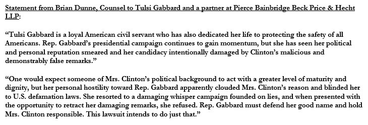 Tulsi Gabbard is Suing Hillary Clinton for $50 Million in Defamation Lawsuit 11