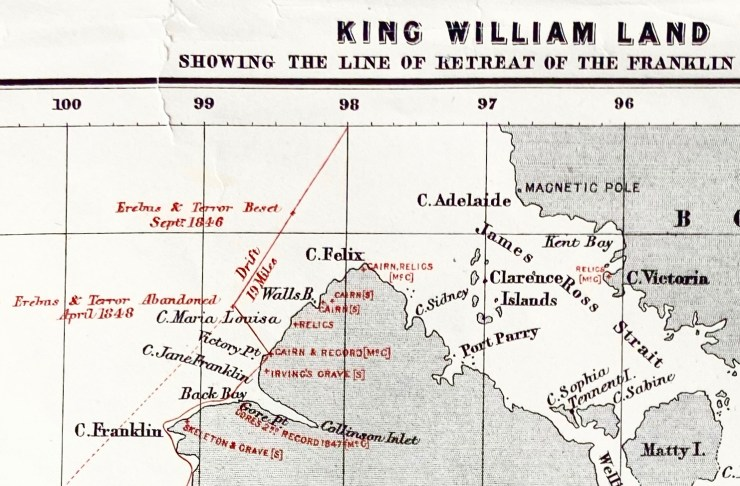 Detail of a Royal Geographical Society map from 1880, showing the approximate location of the Pointing Hand cairn.