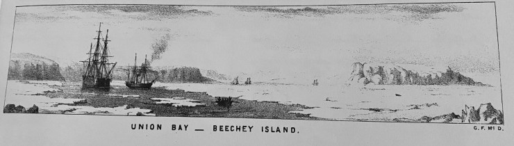 Franklin search ships at Union Bay, Beechey Island. Art by George Frederick McDougall, from the Illustrated Artic News.