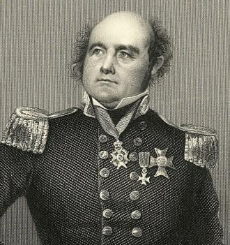 An etching of Sir John Franklin.