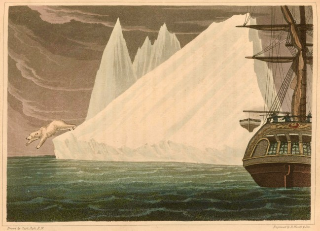 An 1819 image from a drawing by Old John Ross, showing a polar bear leaping off an iceberg