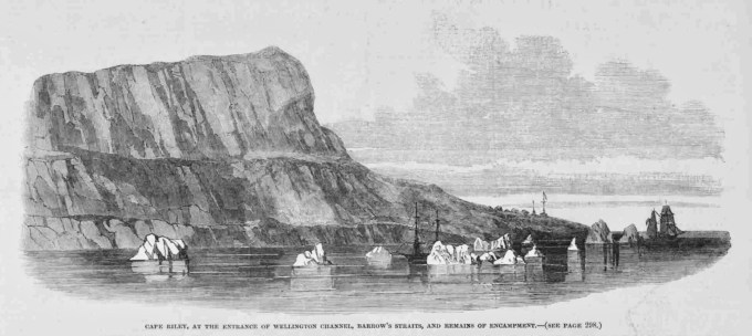 An Illustrated London News etching of search ships off Cape Riley, 1850