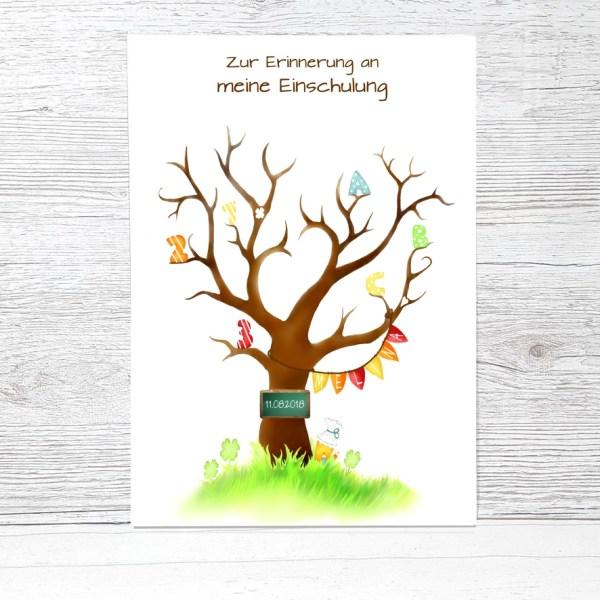 Fingerabdruckbaum Einschulung, Geschenk zur Einschulung, Fingerabdruck Einschulung, Zuckertütenbaum, Fingerabdruck Baum Schulanfang, Gästebuch Einschulung Mädchen