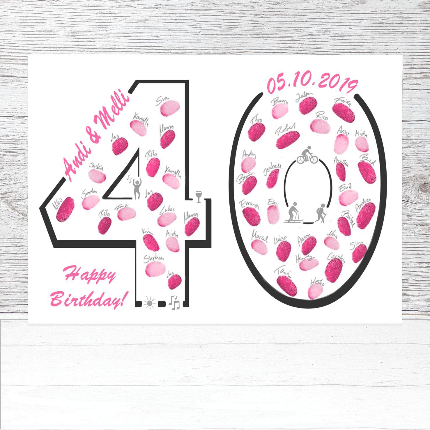 Geschenk Zum 40 Geburtstag Fingerabdruckbaum