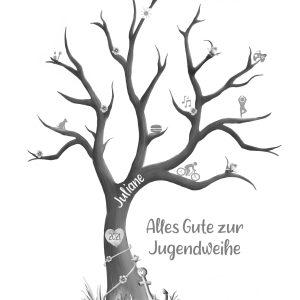 personalisiertes Geschenk zur Jugendweihe, Fingerabdruckbaum Jugendweihe
