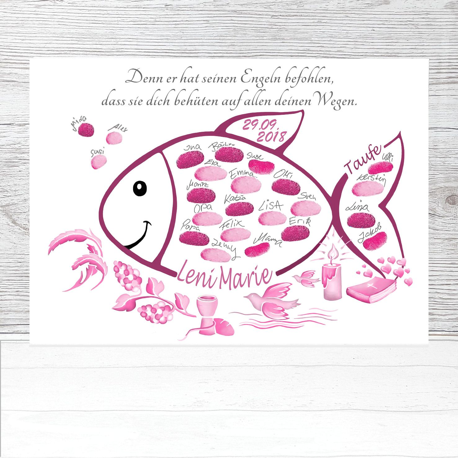 Tauffisch Fingerabdruck Fisch Rosa