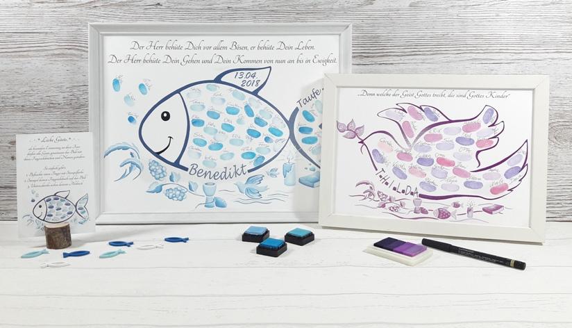Tauffisch, Fisch zur Taufe, Fingerabdruck Fisch, Taufe Gästebuch, Taufe Fisch personalisiert, Personalisiertes geschenk zur Taufe