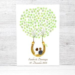 Wedding Tree, Gästebuch Hochzeit Hufeisen, Geschenk Hochzeit Hufeisen, Fingerabdruckbaum