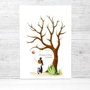 Fingerabdruckbaum Fahrrad, Fingerabdruck Baum Leinwand, Fahrrad zur Hochzeit, Fahrrad Hochzeitsgeschenk, Gästebuch Fahrrad