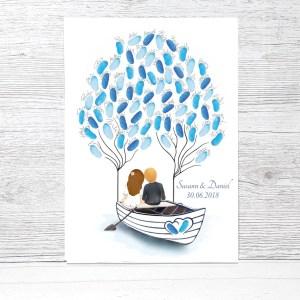 Wedding Tree Boot, maritimes Gästebuch, Hochzeit maritim, Hochzeit maritme Deko, Wedding tree Leinwand