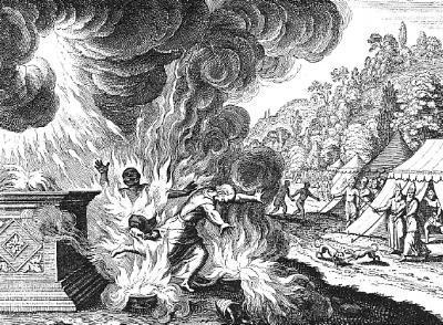 나답과 아비후가 다른 불을 드려 타 죽음 - 불순종