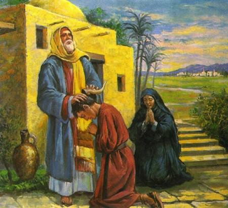 사무엘이 다윗에게 기름을 붓는 모습