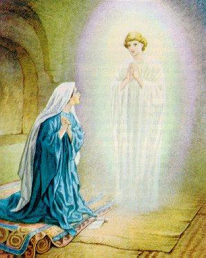 처녀인 자신이 아들을 낳을 것이라는 천사의 말을 믿음으로 받아들이는 마리아