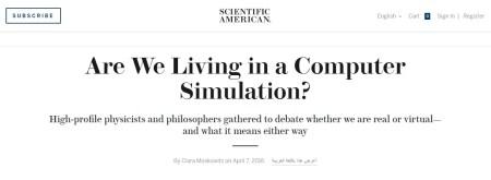 우리는 컴퓨터 시뮬레이션에 살고 있는가 - Scientific American