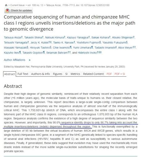침팬지와 인간의 유전 서열 차이