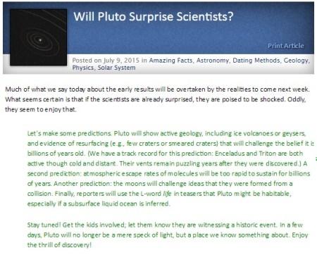 명왕성에 대한 창조론의 정확한 예측