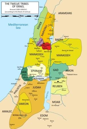 이스라엘 12 지파의 지도 - 사사기