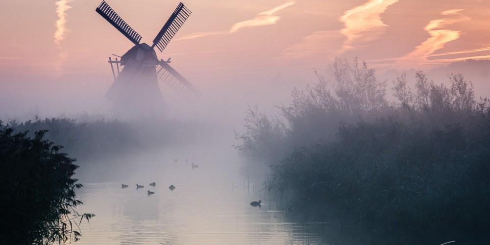 Windmill in Groningen at sunrise