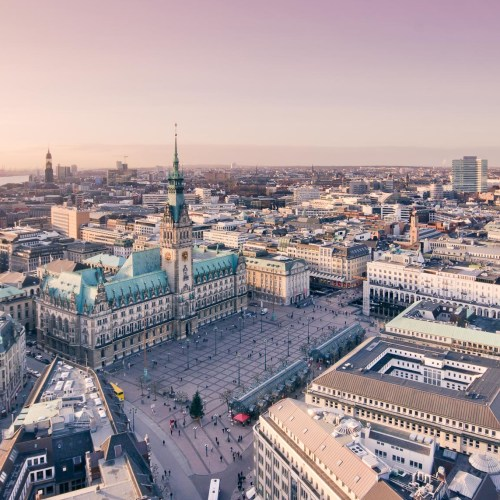 The city hall in Hamburg seen from above at sunset