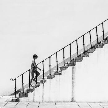 stairs black white girl minimal
