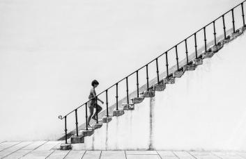 stairs black white girl minimal