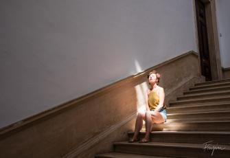 girl sitting sun stairs