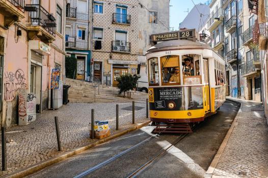 lisbon tram speed yellow