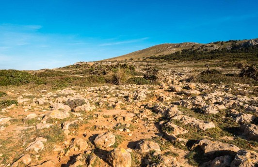 Rocky hiking path at the northernmost tip of the island of Mallorca