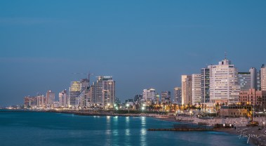 Cityscape of Tel Aviv after sunset