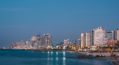 Cityscape of Tel Aviv after sunset