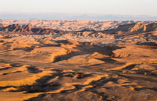 View inside the Makhtesh Ramon (crater) at sunset