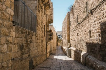 An empty narrow alley in the old Town of Jerusalem