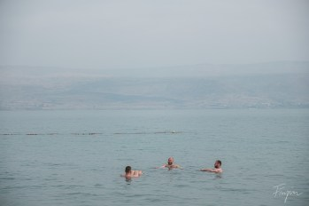 The men floating in the dead sea