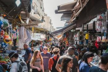 Crowded market in Tel Aviv