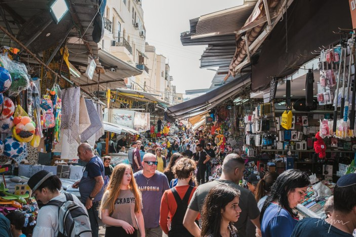 Crowded market in Tel Aviv