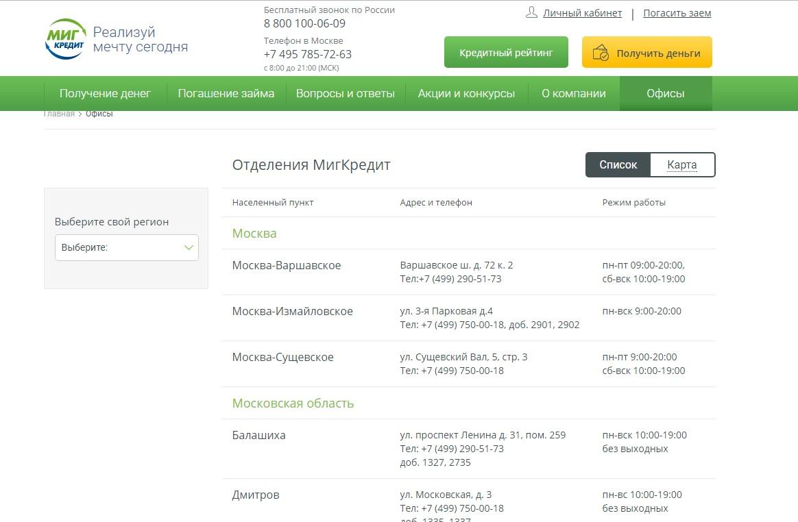 миг кредит официальный сайт адреса в москве кредит под залог приобретаемой