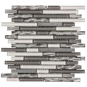 waves of grey 12 in x 12 25 in x 8 mm glass metal mosaic wall tile 99716 204659614