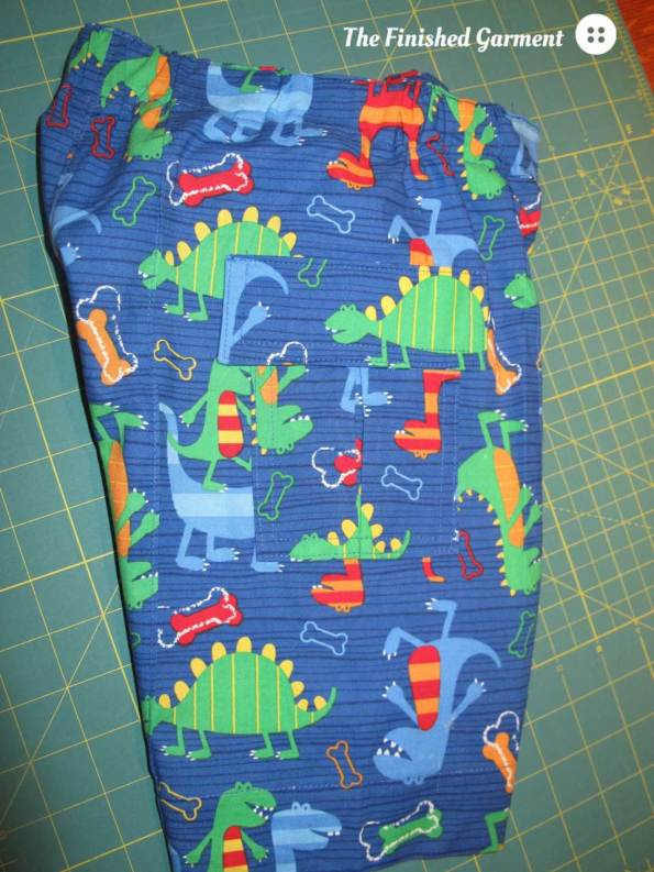 Side view of the dino shorts. I made them an 8 inch inseam.