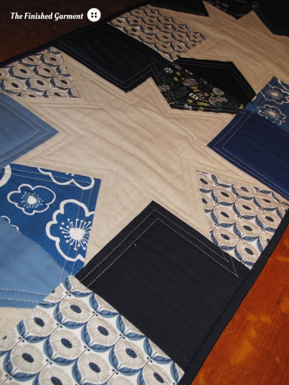 Blue Star Table Runner sewn by The Finished Garment