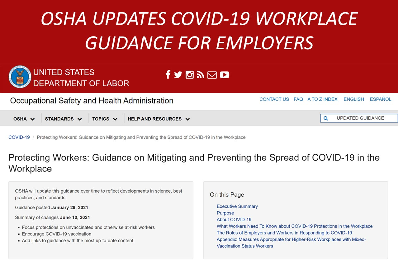 FCA News Image - OSHA COVID-19 Guidance Update