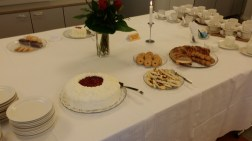 Funeral reception dessert table