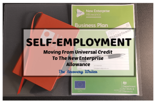 Universal Credit Moving to the new enterprise allowance. Picture of a nusiness plan folder and a notebook
