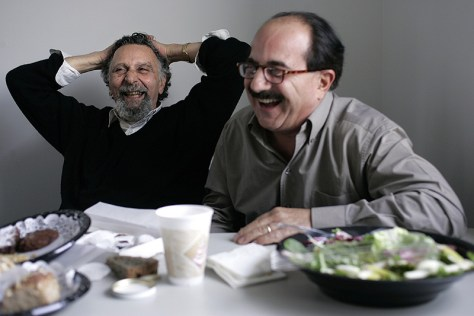 Tom and Ray Magliozzi after recording on 22 December 2004 at WBUR in Brookline, Mass.