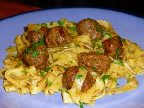 Homemade Swedish meatballs with homemade pasta