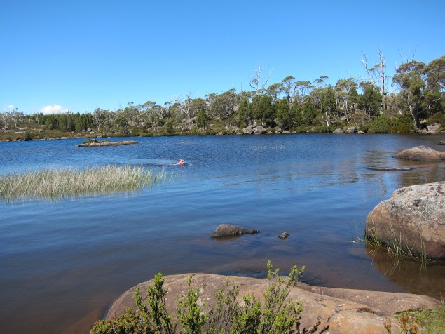 Enjoying swimming in one of the crystal clear Solomon's Jewels lakes between hikes.